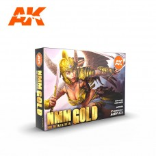 AK11606 Interactive Набор акриловых красок NMM (Non Metallic Metal) GOLD