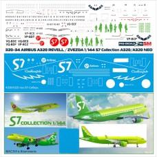 320-34 Лазерная декаль S7 в Комплекте с Масками для окраски. Для Airbus A320/A320 NEO Звезда масштаб 1/144