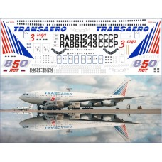 86-01 Лазерная декаль на Ил-86 Zvezda Трансаэро 3 года, 850 лет Москва масштаб 1/144
