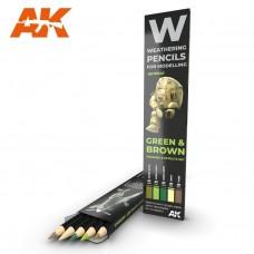 """Набор акварельных карандашей """"Зеленые и коричневые"""" / WATERCOLOR PENCIL SET GREEN AND BROWN"""