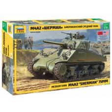 3702 Звезда Американский средний танк Шерман М4А2 масштаб 1/35